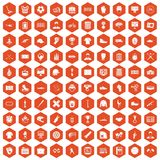 100 mens team icons hexagon orange. 100 mens team icons set in orange hexagon isolated vector illustration stock illustration