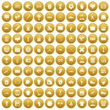100 mens team icons set gold. 100 mens team icons set in gold circle isolated on white vector illustration Royalty Free Stock Photos