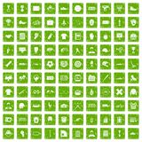 100 mens team icons set grunge green. 100 mens team icons set in grunge style green color isolated on white background vector illustration Stock Photos