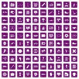 100 mens team icons set grunge purple. 100 mens team icons set in grunge style purple color isolated on white background vector illustration Royalty Free Stock Photography