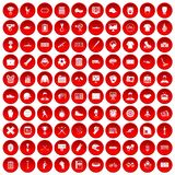 100 mens team icons set red. 100 mens team icons set in red circle isolated on white vector illustration Royalty Free Stock Photo