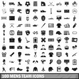 100 mens team icons set, simple style. 100 mens team icons set in simple style for any design vector illustration Stock Photo
