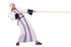 mens in touwtrekwedstrijdconcept Stock Afbeeldingen