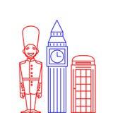 Mens in Traditionele Eenvormige, Britse Wacht Soldier in lijnstijl Overzichtsoriëntatiepunten Big Ben en telefooncel Royalty-vrije Stock Afbeeldingen