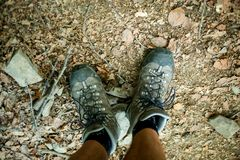 Mens trekking shoes while hiking in forest.  royalty free stock photos