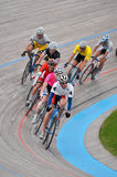 Mens' Velodrome Cycling Race. Blaine, MN - June 8:  Men's Velodrome Cycling: 20 K Points/Madison race on June 8, 2008 Stock Photo