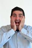 Mens verraste gezichtsuitdrukking Stock Fotografie