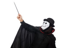 Mens in verschrikkingskostuum met masker op wit wordt geïsoleerd dat stock foto's