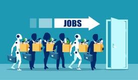 Mens versus Robotsconcept Bedrijfsbaankandidaten die met kunstmatige intelligentie concurreren royalty-vrije illustratie
