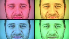 Mens in Vier Kleuren stock videobeelden