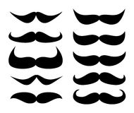 Mens Vintage magnificent black mustache vector white background Royalty Free Stock Image