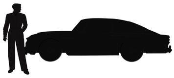 Mens voor zijn auto in silhouet Royalty-vrije Stock Foto
