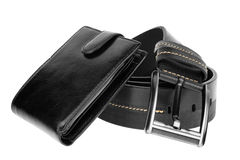 Mens wallet and  belt Stock Photo