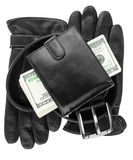 Mens wallet,money, belt and gloves Stock Photos
