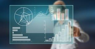 Mens wat betreft een concept van de gegevensanalyse royalty-vrije stock afbeelding