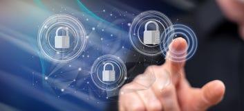 Mens wat betreft een concept van de netwerkveiligheid royalty-vrije stock afbeeldingen