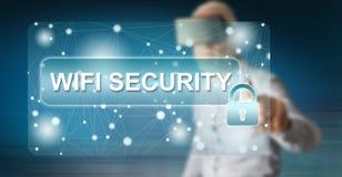 Mens wat betreft een concept van de wifiveiligheid stock illustratie