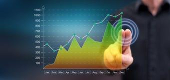 Mens wat betreft een financieel resultatenconcept royalty-vrije stock afbeeldingen
