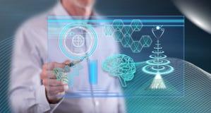 Mens wat betreft een futuristisch technologieënconcept royalty-vrije stock afbeelding