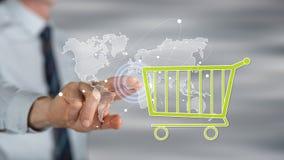 Mens wat betreft een globaal e-commerceconcept stock afbeeldingen