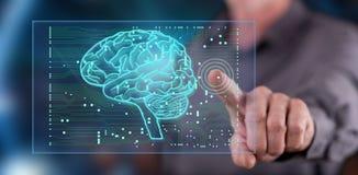 Mens wat betreft een kunstmatige intelligentieconcept op het aanrakingsscherm Stock Foto