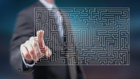 Mens wat betreft een labyrintconcept stock afbeelding