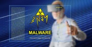 Mens wat betreft een malwareconcept royalty-vrije stock afbeeldingen