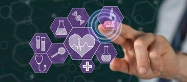 Mens wat betreft een medisch technologieconcept stock afbeeldingen