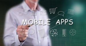 Mens wat betreft een mobiele toepassingenconcept royalty-vrije stock foto