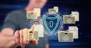 Mens wat betreft een persoonlijk gegevensbeveiligingconcept stock fotografie