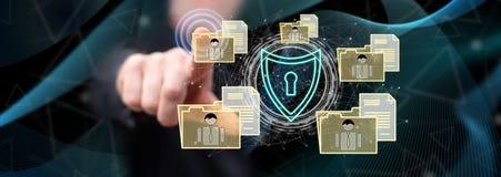Mens wat betreft een persoonlijk gegevensbeveiligingconcept royalty-vrije stock afbeelding