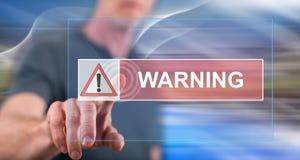 Mens wat betreft een waarschuwingsconcept royalty-vrije stock foto