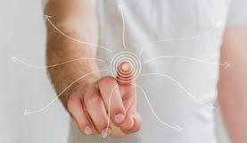 Mens wat betreft hand-drawn bedrijfspresentatie Stock Foto