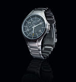 Mens watch. On black background Royalty Free Stock Photos
