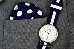 Mens watch and pocket square