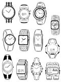 Mens watches. Set of silhouettes of mens watches Stock Photography