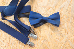 Mens wedding accessory, blue bow tie Stock Photography