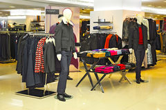 Mens winter clothing store Stock Images