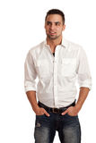 Mens in Witte Overhemd en Jeans Royalty-vrije Stock Foto