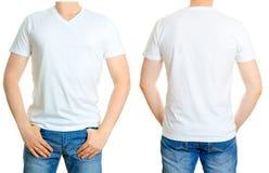 Mens in Witte T-shirt Stock Fotografie