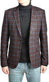 Mens  woolen suit blazer checkered,  in combination with jeans Royalty Free Stock Photos