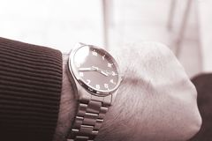 Mens Wrist Watches. Mens watches on hand. Men`s Wrist Watches. Men`s watches on hand. Time to time stock photography