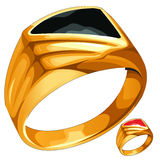 Mens yellow gold ring with expensive stone. Vector jewelry vector illustration