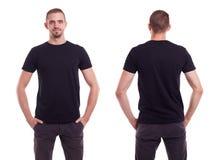 Mens in Zwarte T-shirt stock afbeeldingen