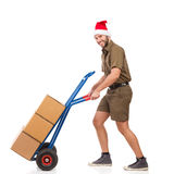 Mensageiro Delivering Packages do Natal Imagem de Stock