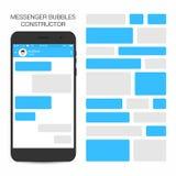Mensageiro e conceito social da rede O discurso borbulha construtor ilustração stock