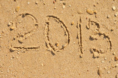 Mensagem 2013 do ano novo na areia Imagens de Stock Royalty Free