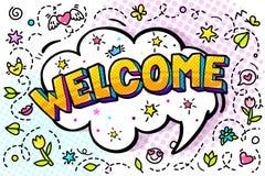 Mensagem bem-vinda na bolha cômica do discurso com rotulação no estilo do pop art ilustração do vetor