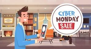 Mensagem da bolha do bate-papo da venda de segunda-feira do Cyber dos discontos de Guy Using Digital Tablet Holiday ilustração royalty free