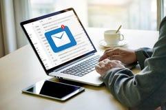 A mensagem da conexão de uma comunicação do correio ao envio pelo correio contacta o telefone Imagens de Stock